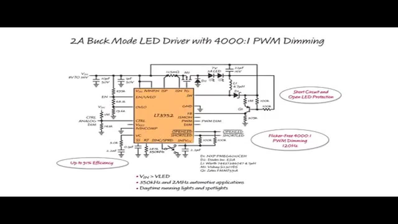 60V LED 驱动器适用于汽车照明